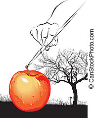 Paint imaginary apple - surrealist vector art tree, apple...