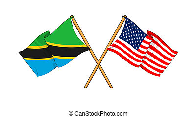 America and Tanzania alliance and friendship - cartoon-like...