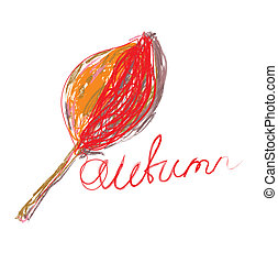 Handdrawn autumn leaf and text card