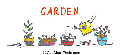 Gardening banner with flowers and instruments template
