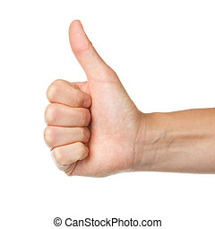 Image of a womans hand showing thumb up