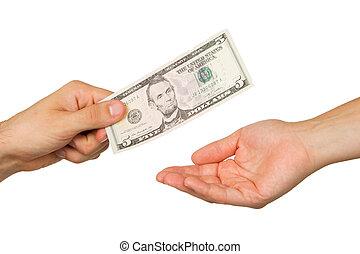dinero, mujer, entre, hombre, transferencia