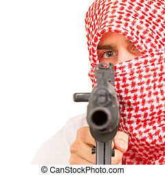 Arab adult with a machine gun, terrorist, isolated on white