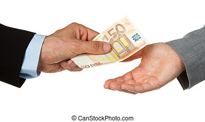 Man giving 50 euro to a woman business, isolated on white