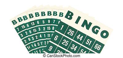 Green bingo cards isolated