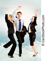Joyful business people - Image of three joyful business...