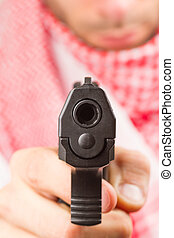 árabe, adulto, máquina, arma, terrorista
