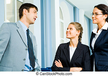 Conversation - Photo of businessman and businesswoman...