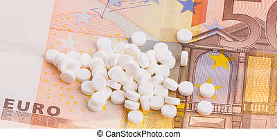 Pills on some 50 euro banknotes - White pills on some 50...