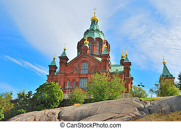 Helsinki. Uspenski Orthodox Cathedral on the island...