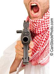 árabe, Adulto, máquina, arma de fuego,...