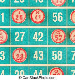 madeira, números, usado, Bingo