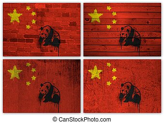 Chinese flag collage