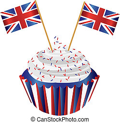 United Kingdom England Cupcake with Flag Illustration -...