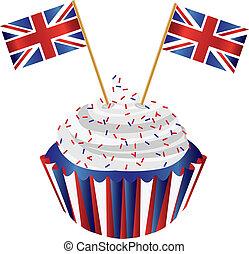 unido, reino, inglaterra, Cupcake, bandera,...