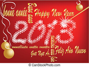 happy new year 2013 sign on a red background