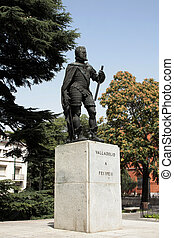 The Felipe II monument in Valladolid, Castilla y Leon, Spain