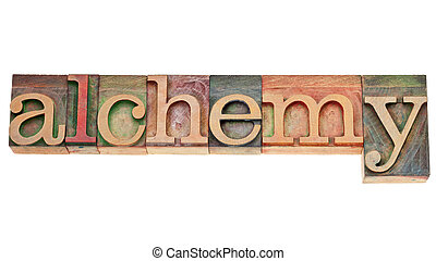 alchemy word in wood type