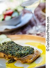 Carp with herbs and salad