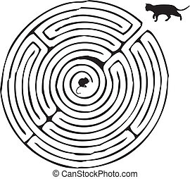 Finding a way, a cat with a mouse in a maze. Vector...