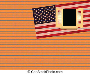 Flag USA against the wall with a window. Vector...