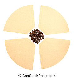 Coffee beans on a coffee filter white background