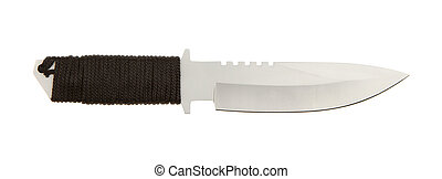 Sharpened metal blade with braided handle on a white...