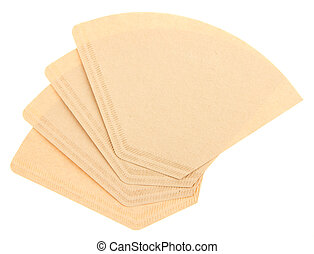 Four coffee filters isolated on a white background - Four...