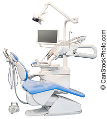 Dental Chair Cutout - Blue Dental Chair Isolated with...