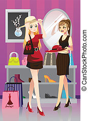 Shopping girls - A vector illustration of two girls shopping