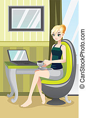 Woman at home - A vector illustration of a woman using a...