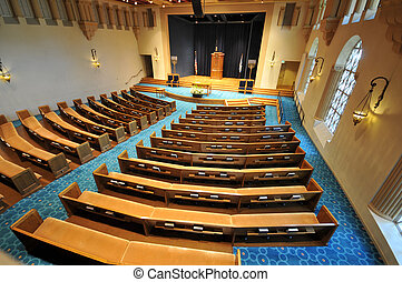 Rows of pews in a synagogue - View from the balcony of pews...