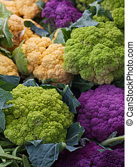 Purple Green Orange Cauliflower - Pile of Purple Green...