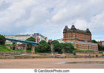 Scarborough Beach - The sandy seafront of Scarborough with a...