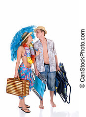 Happy couple, vacation - Attractive young couple in beach...