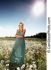 girl in dress on the daisy flowers field - beautiful girl in...