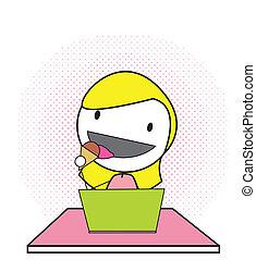 girl kid computer
