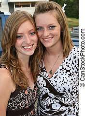 Portrait of Young Sisters - Portrait of Teen or Young Adult...