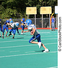 Football Player Running - Teen Youth Football Player Running...