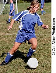 acción, juego, futbol