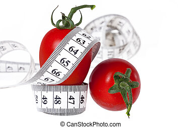 Measuring tape - healthy food and diet