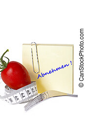Measuring tape - Notepaper - healthy food and diet