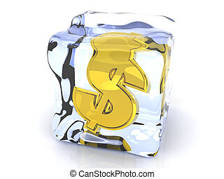 Frozen Dollar - 3D rendered Illustration. A Dollar symbol in...