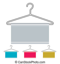 Coat hanger icon - Outline coat hanger with material draped...