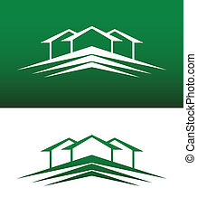 Abstract House Icon Vector Solid and Reversed - Abstract...
