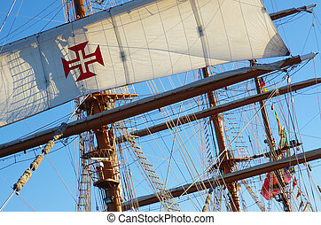 Ship Rigging - Detail of sails, masts and rigging of a...