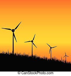windmill black silhouette on sunset illustration