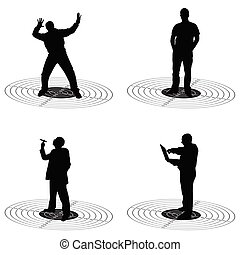 man standing on target vector silhouette