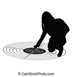 girl show center on target vector black silhouette