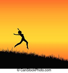 girl black silhouette jumping illustration